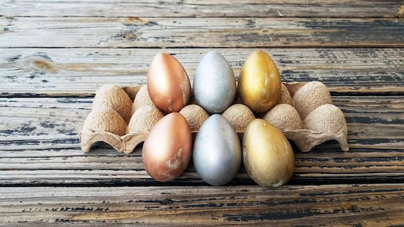 Decorative Easter Eggs, Easter Eggs, Metallic Eggs, Metal Leaf Eggs, Gilded Eggs, Distressed Eggs