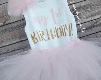First Birthday Outfit Girl; One Birthday Tutu Outfit; baby girl 'one' tutu outfit; Tuut Outfit for first birthday
