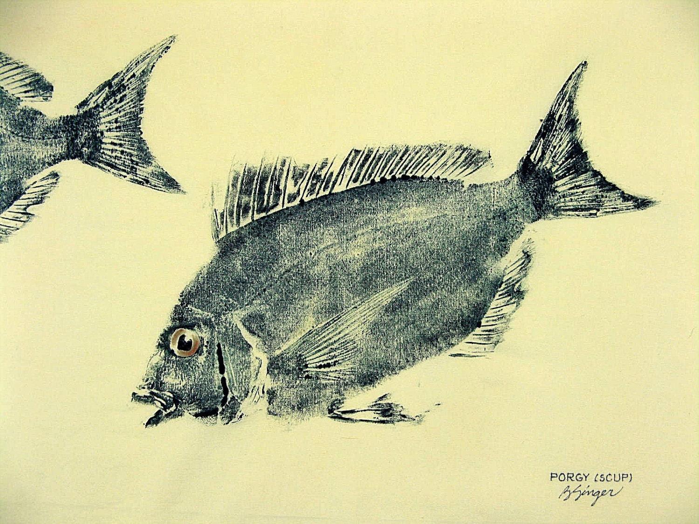Porgy or Scup Fish Art rubbing GYOTAKU original on cloth
