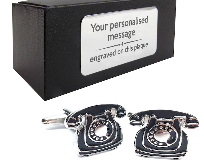 Retro telephone call centre, receptionist novelty CUFFLINKS birthday gift, presentation box PERSONALISED customized ENGRAVED plate - 095
