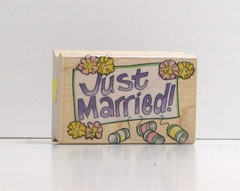Just Married Rubber Stamp Hero Arts