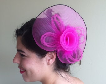 SINAMAY FASCINATOR , with Feathers, Hot Pink  /  F - 19