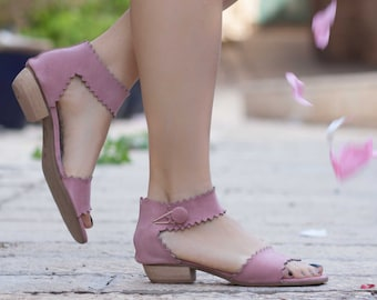 Women Leather Sandals, Heeled Sandals, Pink Leather Sandals, Summer Shoes, Heels,
