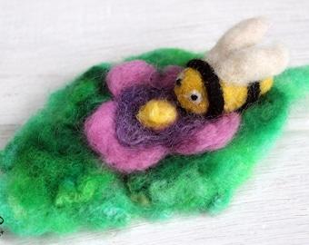 Little needle felted bee on beaded flower