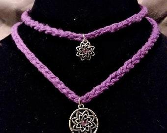 crochet choker necklace set ,