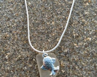 Genuine All Natural Nautical Sea Glass Necklace with Fish Charm