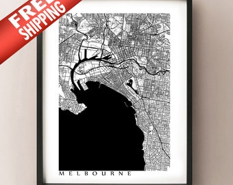 Melbourne Map Print - Black and White Wall Art