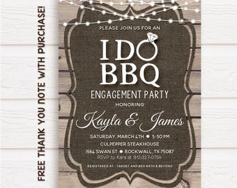 I do bbq invitation, I do bbq, I do printable invitation, rustic I DO BBQ, burlap and wood