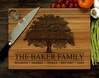 Personalized Cutting Board, Engraved Cutting Board, Custom Cutting Board, Family Tree, Personalized Wedding Gift, Bridal Shower Gift