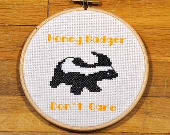 easy cross stitch pattern honey badger don't care, PDF *instant download*