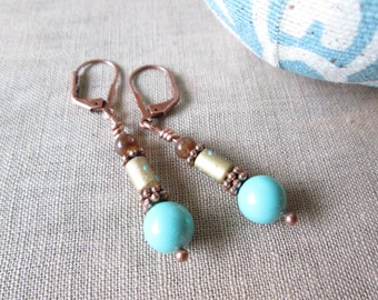 Dangle Earrings / Pearl Earrings / Swarovski Earrings / Antique Copper Earrings / Turquoise Earrings / Pretty Earrings / - Copper Canyon