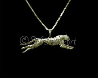 Running Cheetah necklace - Solid 14k gold
