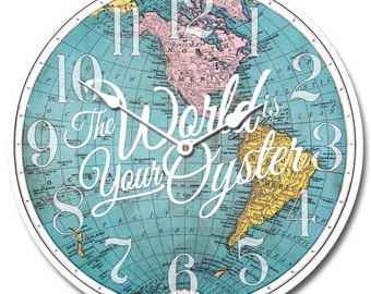 The World is Your Oyster Map Wall Clock