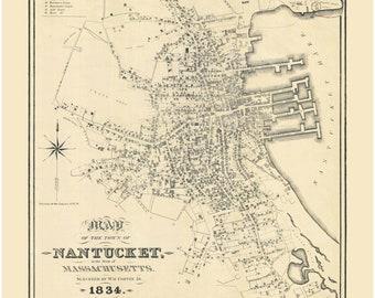 Nantucket Village 1834 map by Coffin
