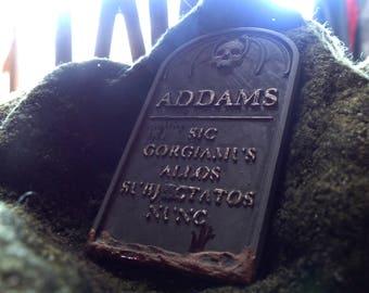 Stone headstone Addams Family