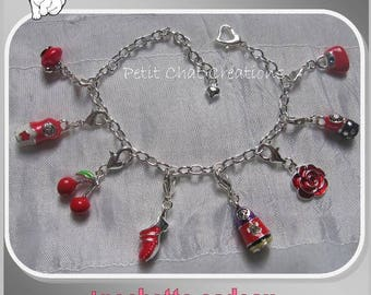 "BRACELET RED 16-22CM SNAP CHARMS BEADS ""MATRYOSHKA"" CHARMS"