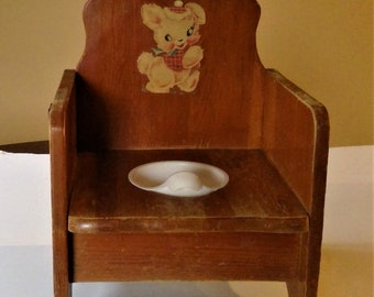 Mid Century Wood Child Potty Chair with Chamber Pot