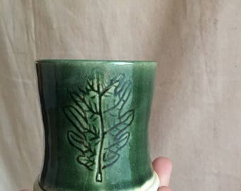 Small Bright Green Carved Oak Leaf Whisky Cup