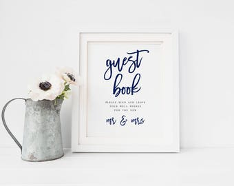 Wedding Guestbook Printable Sign Navy Guestbook Sign Wedding Decor Wedding Table Decor Wedding Guest Book Sign In