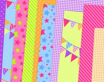 Summer Fun Digital Paper Pack, Party Digital Papers, Bright Digital Scrapbook Paper, Instant Download, Commercial Use