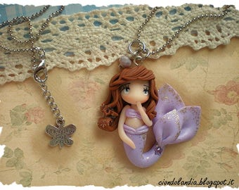 Lilac princess mermaid doll necklace (Polymer clay )