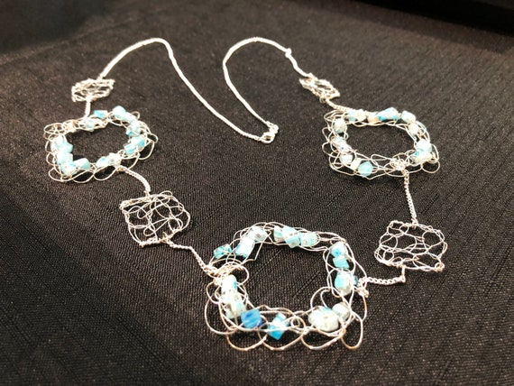 SJC10318 - Necklace - Sterling silver wire crochet squares with and without light blue glass beads and sterling silver chain