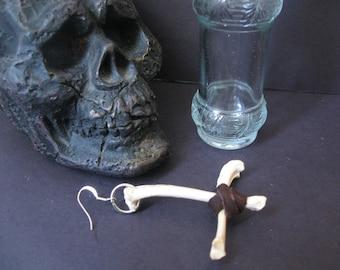Coyote Bone Inverted Cross Earring ( upside down cross earring)