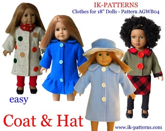 made for 18 inch American Girl Doll clothes paterns COAT & HAT pdf pattern ikpatterns