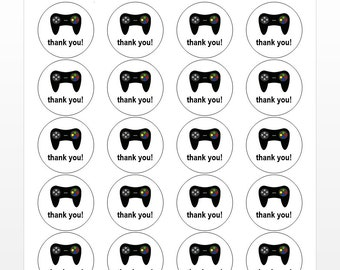24 Gaming Controller Stickers, Gaming Party, Birthday Stickers, Gamer Birthday Labels, Man Baby Shower, Thank You Labels