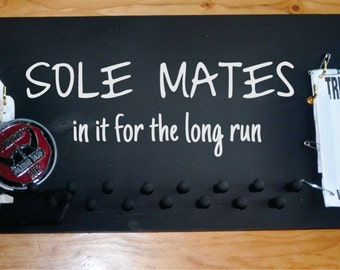 Running Medal and Bib Holder with Sole Mate Quote and Name Personalizaton