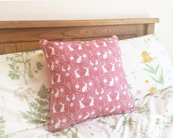 Floral Hares Decorative Throw Cushion, Cushion Cover, Throw Cushion, Pillow, Decorative Cushion, Rabbit Lover Gift, Floral Cushion Cover
