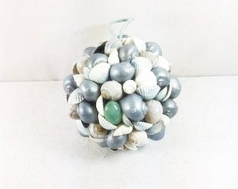 Big Blue Silver White Seashell Ball Seashell Centerpiece Cake Topper Seashell Wedding Decoration Seashell Ornament