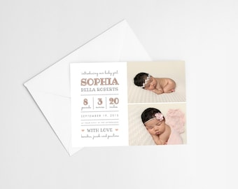Welcome to the World, Baby Announcement, Type Font Announcement, Nursery Card, Baby Girl