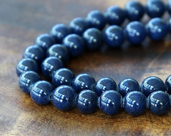 Mountain Jade Beads, Navy Blue, 10mm Round - 15 inch strand - eMJR-B09-10