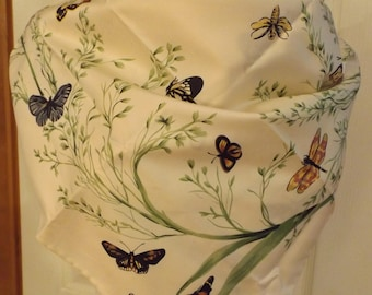 Gorgeous Jim Thompson Large Butterfly Floral Scarf, Cream/Green/Yellow/Blue/Orange, Women's Accessory, Large, Fashion Trend, Mod, Summer