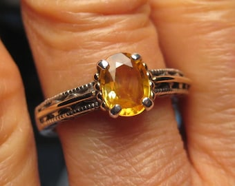 Beautiful Golden Sapphire Ring ... Sterling Silver and 14 kt Yellow Gold ...  Size  7  . e862