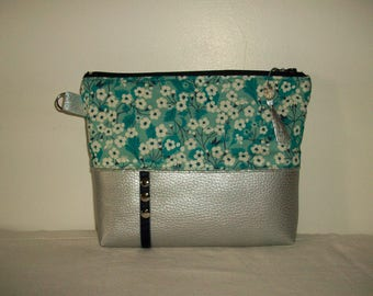 Pouch, organizer bag, cosmetic case in mint green liberty fabric with water and imitation silver