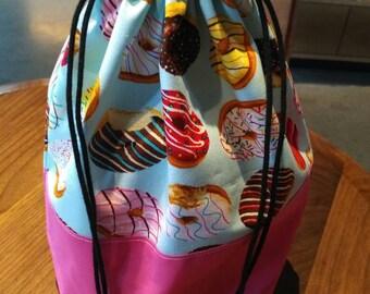 Drawstring Knitting Project Bag - Donuts