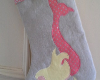 Linen Mermaid Christmas Stocking