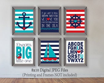 Nautical Nursery Prints Set of SIX 8x10 Anchor Wheel Whale Dream Big Count the waves in the sea ABC Dream Big Red Turquoise Navy