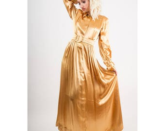 1940s dress / Vintage gold rayon satin maxi evening gown bishop sleeves / Glamorous dressing gown / S