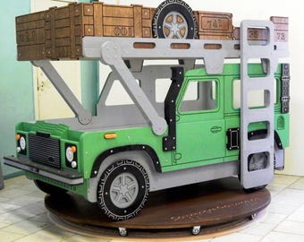 Kid's bed-car Land Rover Defender - Scheme for creating - For a DIY kid's bedroom decor (in digital format)