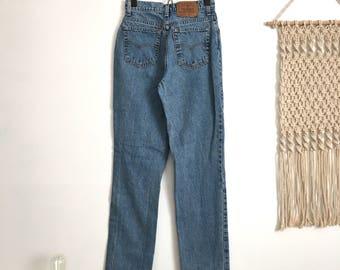 SALE Vintage Levis 525 high waisted jeans, light medium blue wash, size 27