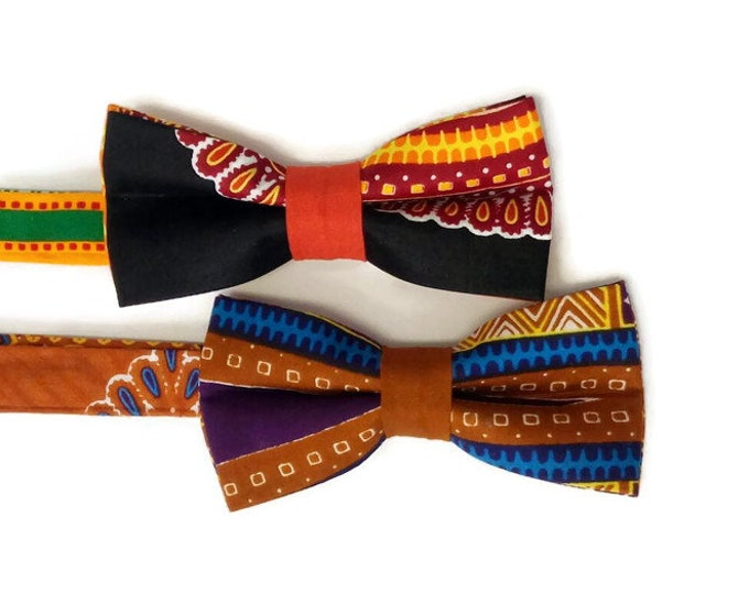Pair Of Dashiki African Print Bowties For Weddings Graduation And Prom