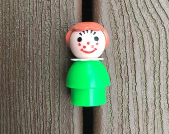 Vintage Fisher-Price Little People Green Girl with Freckles for Farm