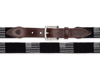Black Flag Needlepoint Belt / Gifts for Groomsmen / Needlepoint Belts / Hand Stitched Belts / Custom Belts / Personalized Belts / Belts