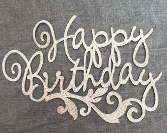 Happy Birthday Cake Topper Silver x1