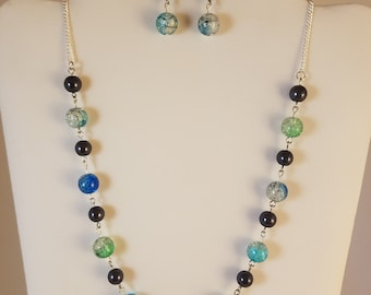 New handmade beaded blue green black necklace earrings set