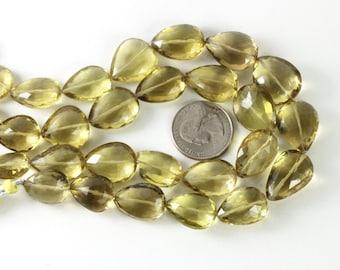 Huge Citrine Briolettes ONE, 17mm to 22mm Genuine Faceted Citrine Teardrop Briolettes Honey Yellow Stone, November Birthstone  KJ