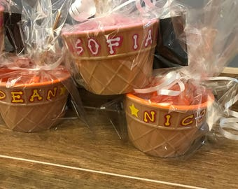 Personalized Ice cream cup, kids favor, kids dish, kids accessory, party favor, kids cup